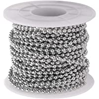 Supvox Metalen parelketting roestvrij staal kogelketting voor doe-het-zelf handwerk decoratie 2,4 mm diameter 1 rol 10…