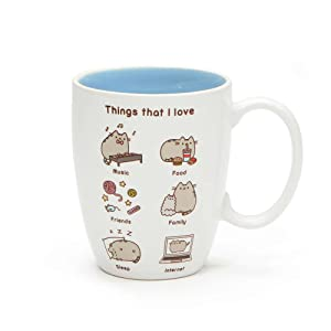 "Pusheen by Our Name is Mud ""Things Pusheen Loves"" Stoneware Coffee Mug, 12 oz."