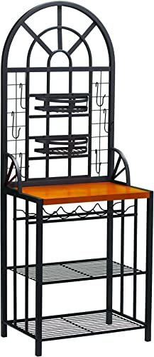Dome Bakers Rack w Wine Bottle Storage – Adjustable Nesting Baskets – Metal Tube Frame