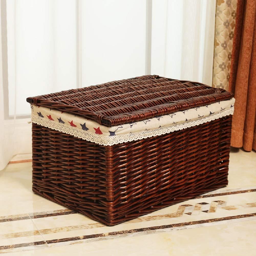 カバーが付いているタケ収納箱の藤のスーツケース、プラスサイズの布の裏地は衣服、おもちゃのための容器を組織します (Color : Coffee+st, Size : L)   B07Q34VJBG