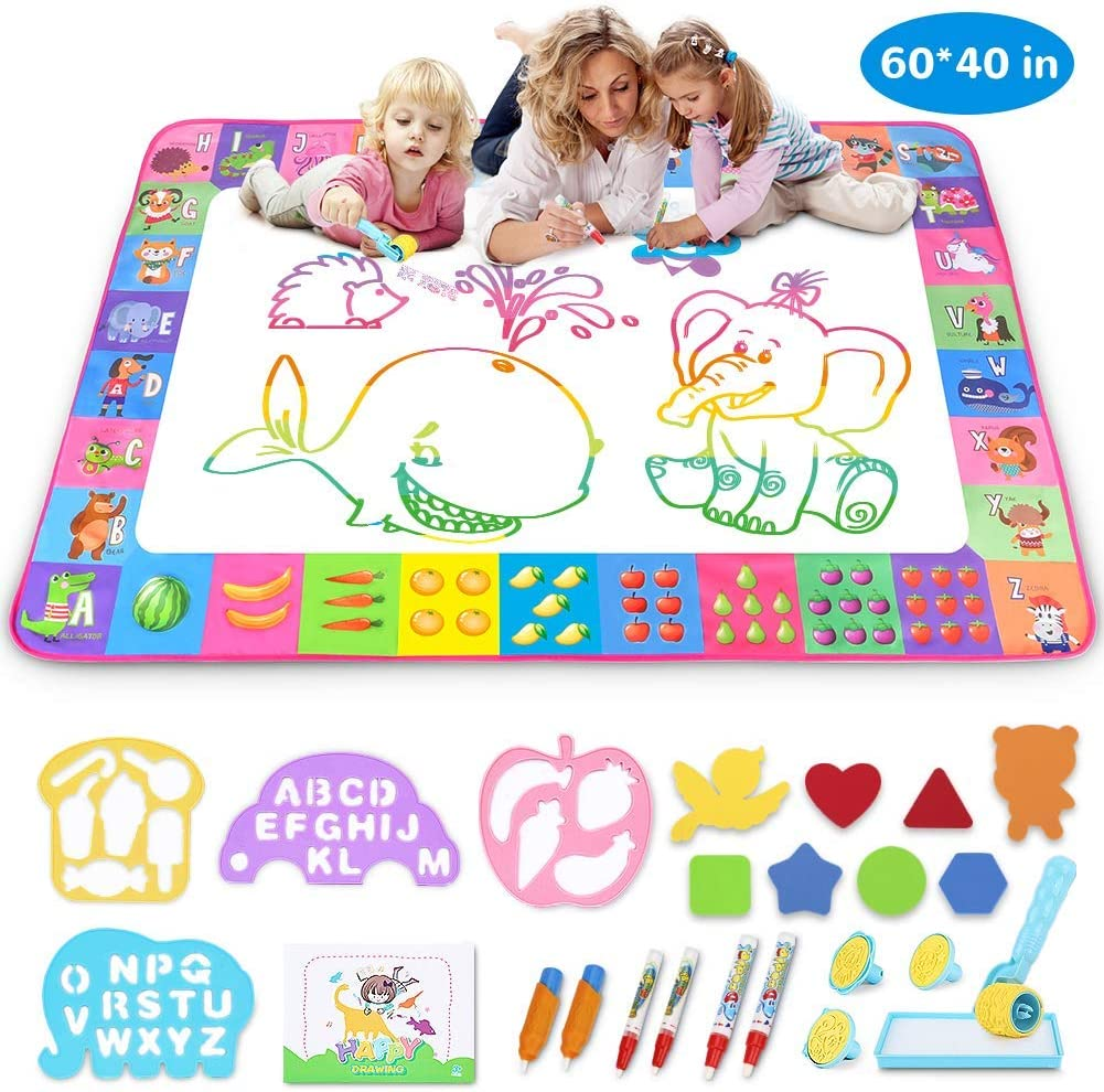Aqua Magic Mat - Kids Painting Writing Doodle Board Toy - Color Doodle Drawing Mat Bring Magic Pens Educational Toys for Age 3 4 5 6 7 8 9 10 11 12 Year Old Girls Boys Age Toddler Gift (Pink)