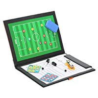 CompraFun Folding Football Coaching Board Magnetic Tactical Board with Football Accessories, Soccer Coach Board Folder with Pen, Eraser, Whistle & 24 Magnets