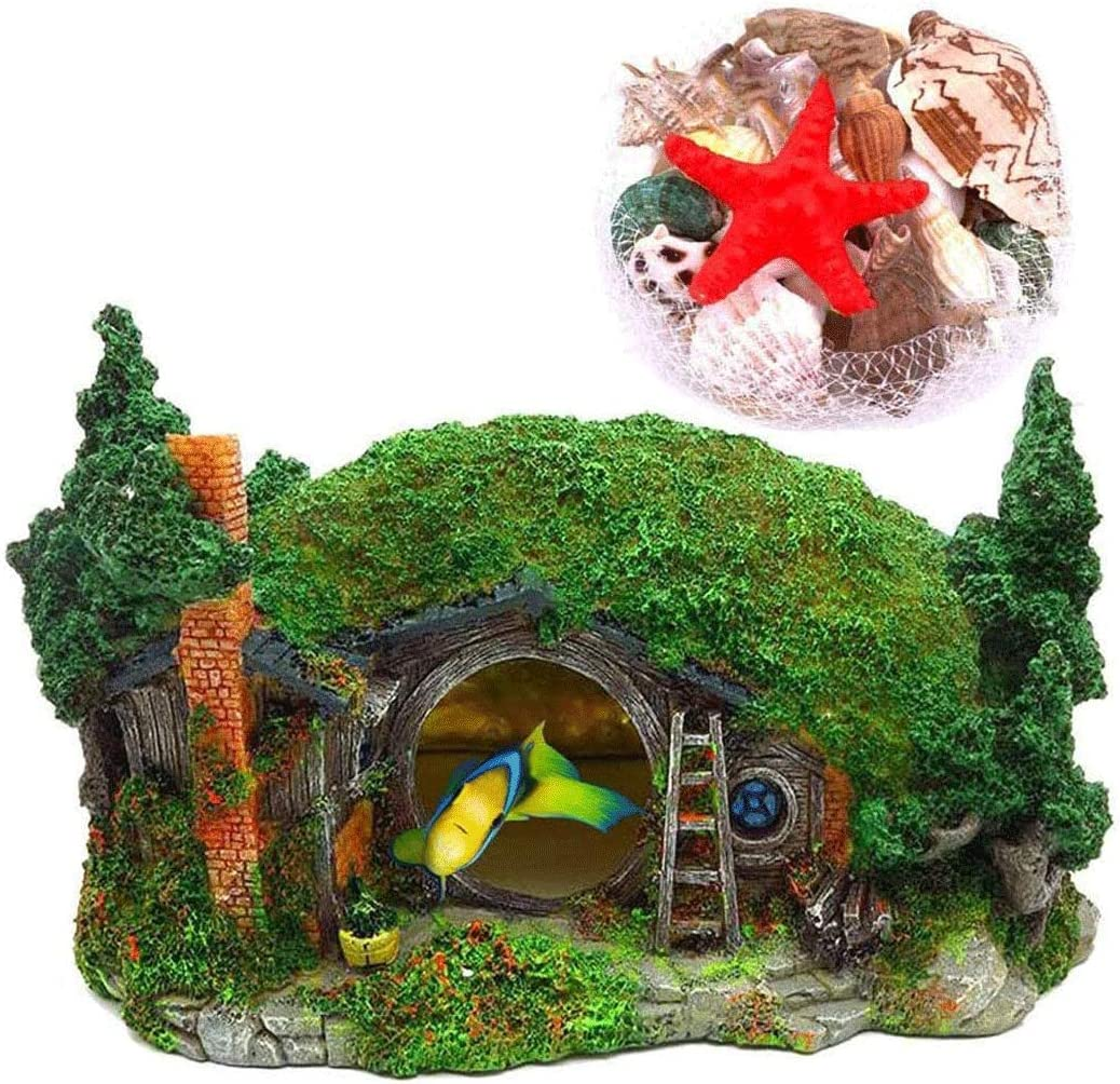 Hamiledyi Aquarium Decoration Hobbit House Reptile Hole House Shelter Fish Tank Ornament Rockery Landscaping Mixed Beach Colorful Natural Seashells for Aquariums Reptile Box Shelter Ornament