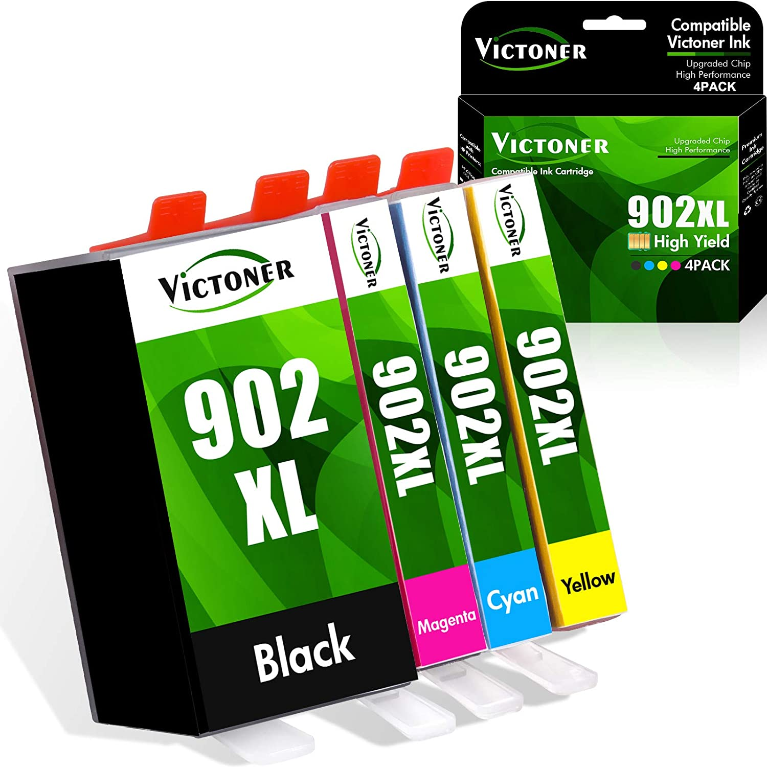 Victoner Compatible Ink Cartridge Replacement for HP 902XL 902 XL Ink Cartridge to use with HP Officejet Pro 6978 6968 6962 6958 6970 HP 902 Ink Cartridges Printer (Black Cyan Magenta Yellow 4-Pack)