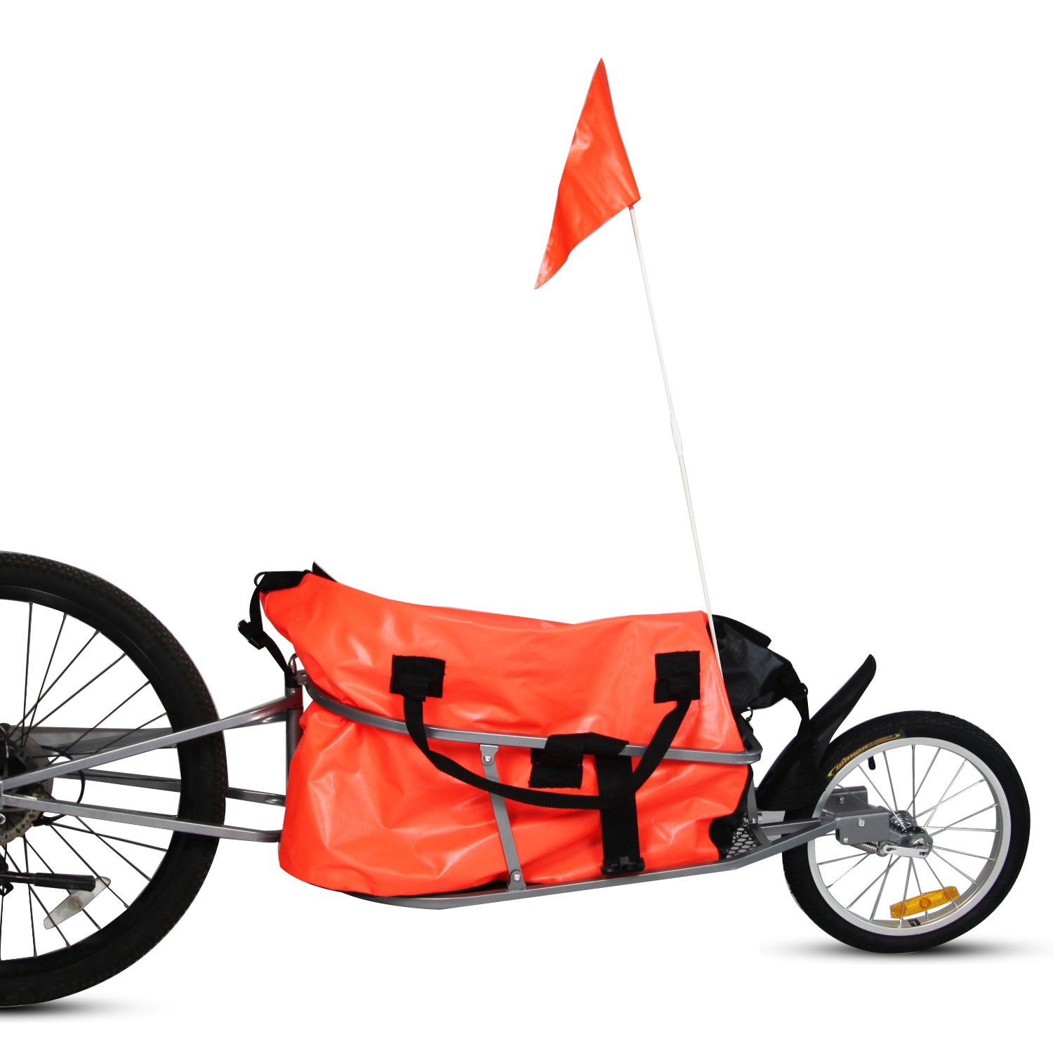 Kinbor New Single Wheel Pet Bicycle Cargo Trailer w/Orange Cargo Bag