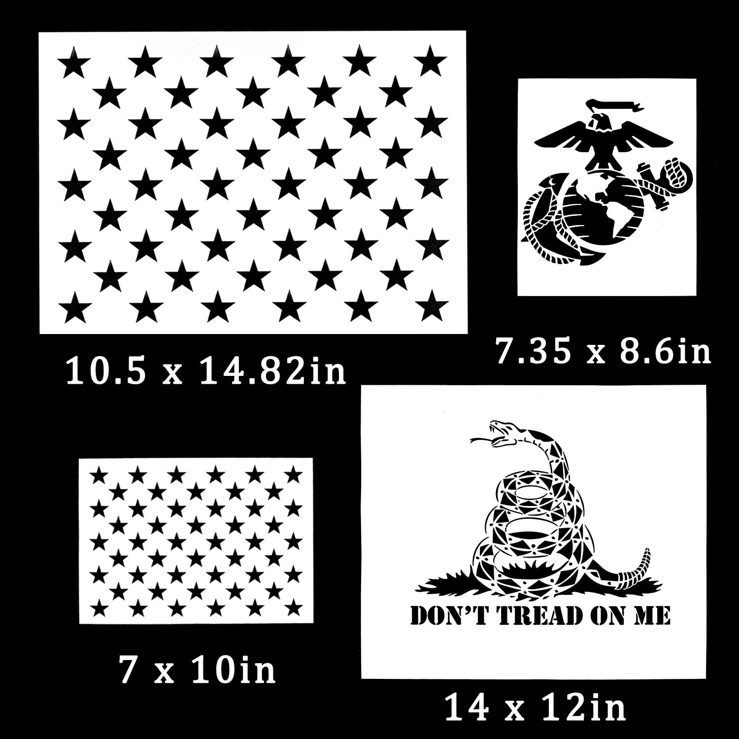 Paper 2 Large Whaline 7 Pieces American Flag 50 Stars Stencil Template for Painting on Wood 2 Medium and 3 Small Fabric Airbrush Walls Art