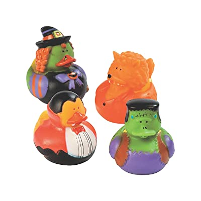 Fun Express - Halloween Costume Duckies for Halloween - Toys - Character Toys - Rubber Duckies - Halloween - 12 Pieces: Toys & Games
