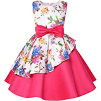NSSMWTTC 2-9T Girls Floral Print Formal Dresses Kids Pageant Party Dress