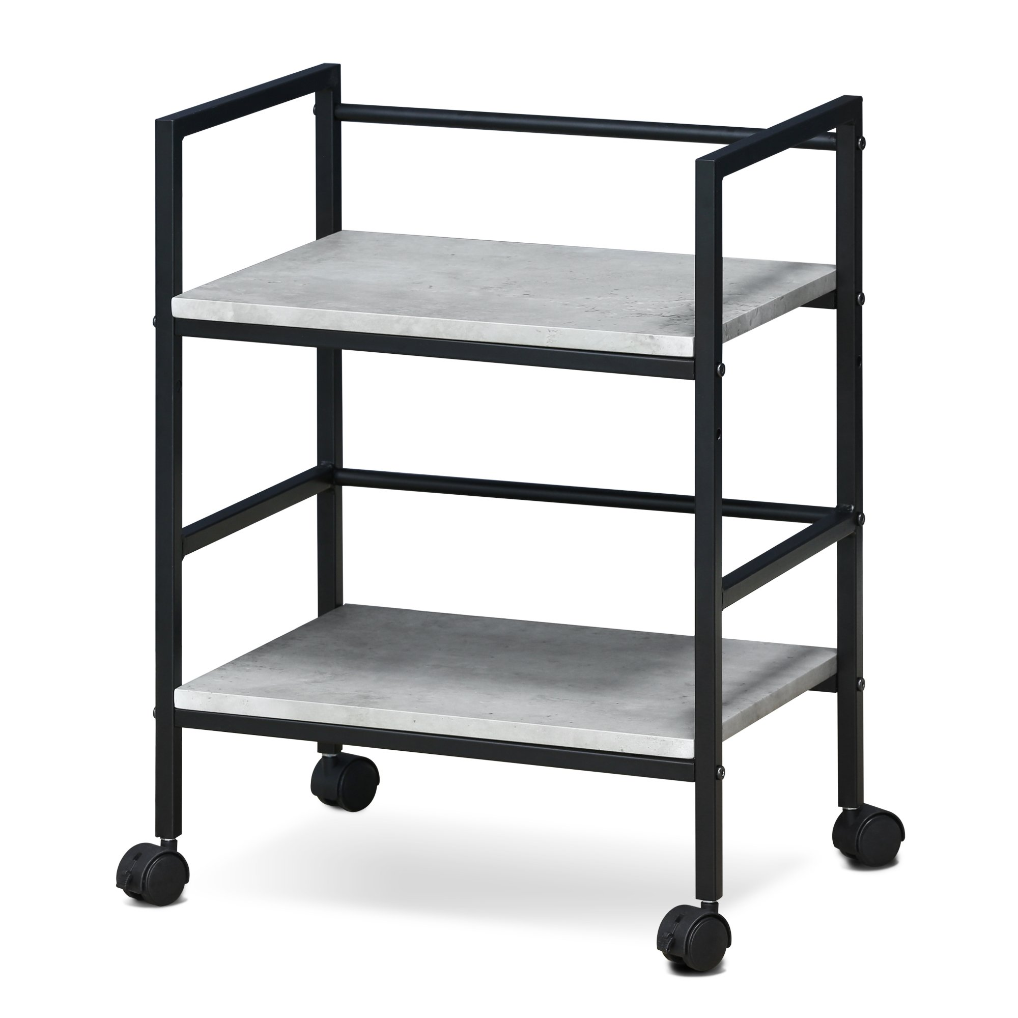 Furinno FM4560WSW Modern Lifestyle Storage Cart with Casters, Stone