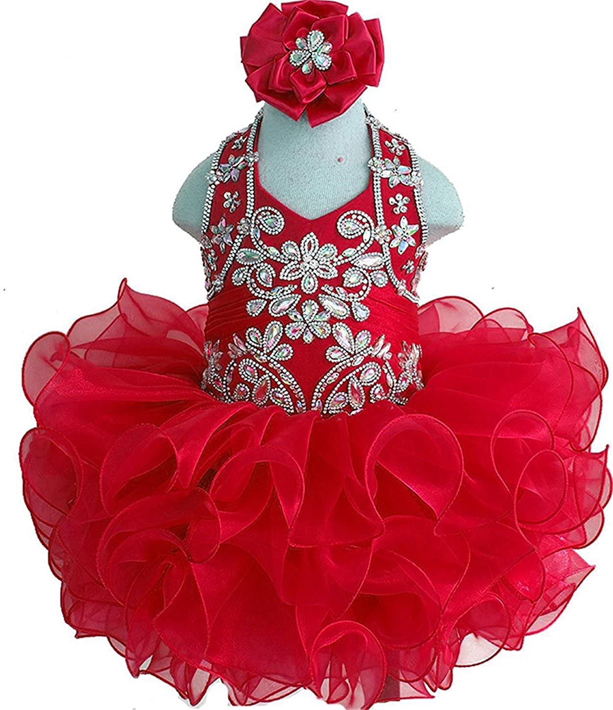 MCandy Baby Girls Halter Rhinestone Mini Cupcake Party Pageant Short Dress