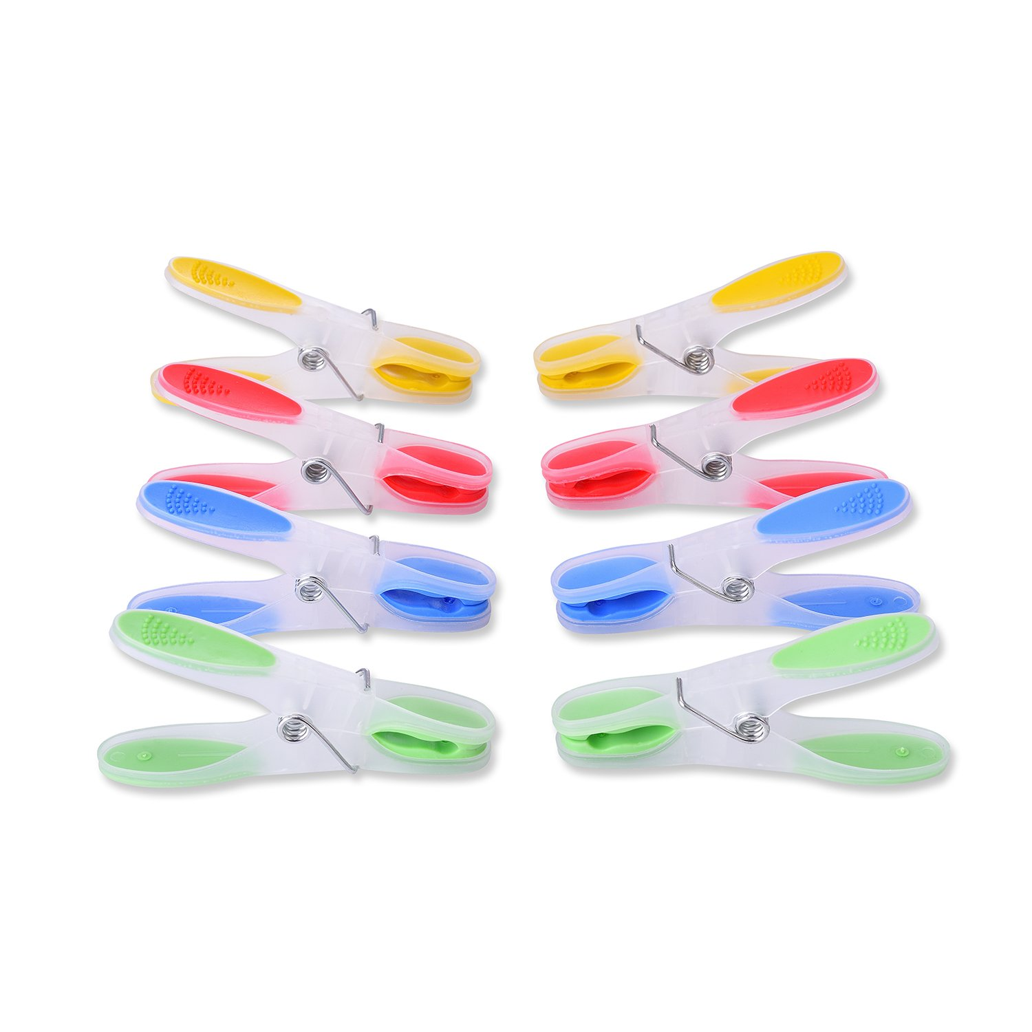 TtoyouU Decorative Clear Plastic Clothespins Colored Clothes Pins Clips Pegs 24pcs Assorted Colored (Green/Blue/Yellow/Red)