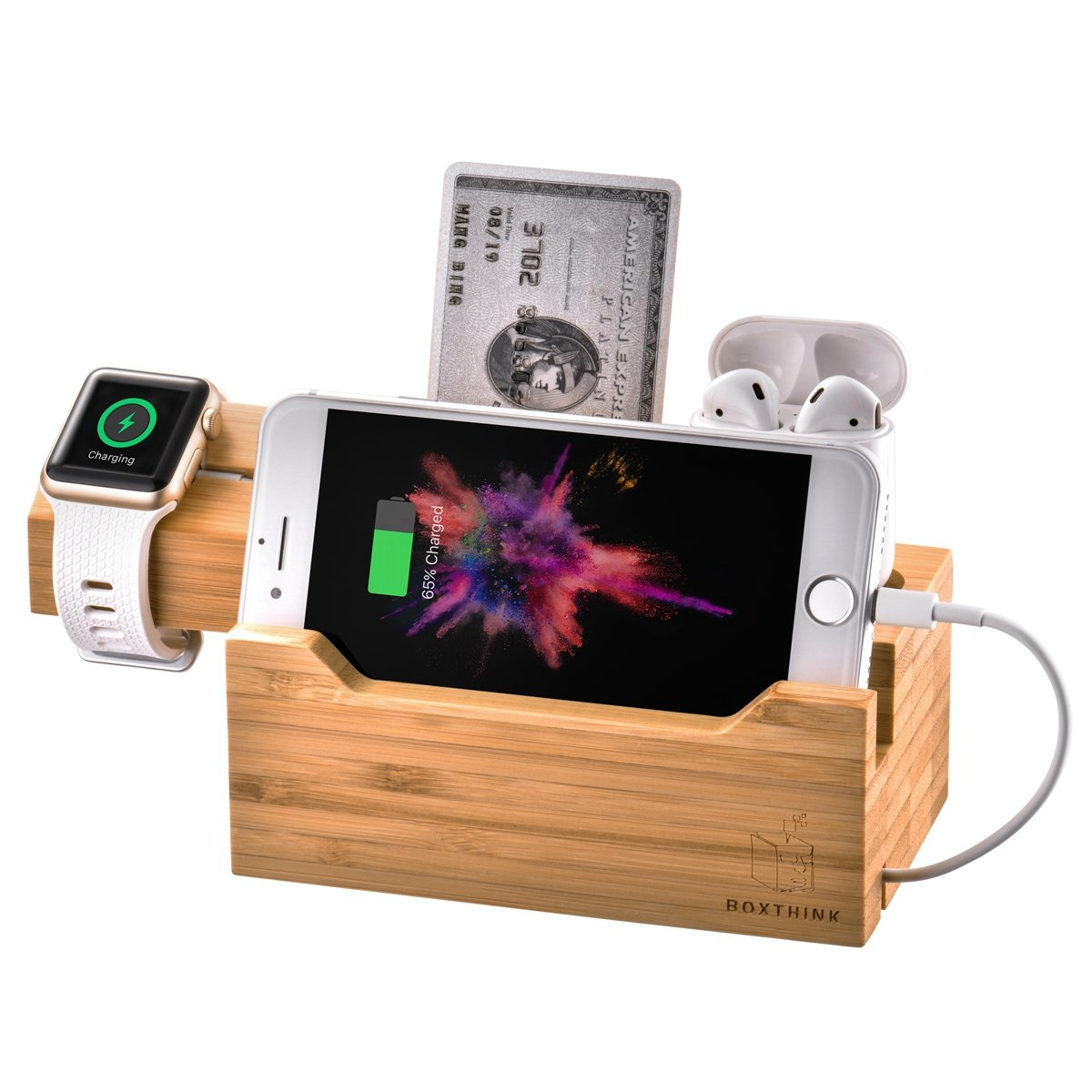 Charging Station for Apple Watches, iPhones, AirPod Apple Watch Charger Stand AirPods Charging Dock Bamboo Wood Charging Station with 3 USB Power Ports