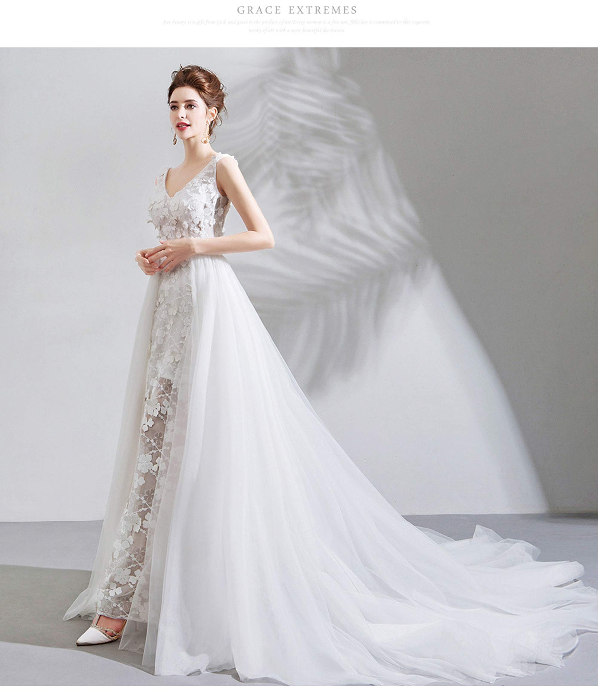 NOMSOCR Women's Lace V Neck Sleeveless Wedding Dresses Mermaid Bridal Gown (M, White) by NOMSOCR (Image #4)
