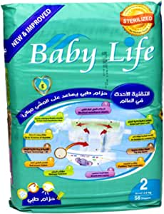 Baby Life New & Improved, Size 2, 3-6 kg, 56 Diapers