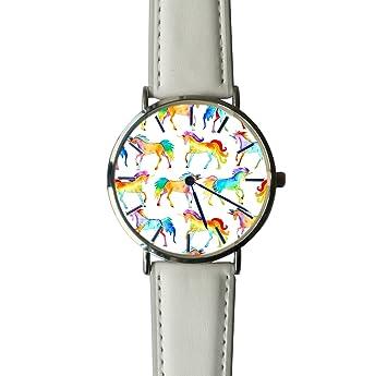 ERT8OII - Reloj de Pulsera de Unicornio con Números Romanos y Personalizados (Cuarzo, Reloj de Pulsera, Correa de Piel): Amazon.es: Hogar