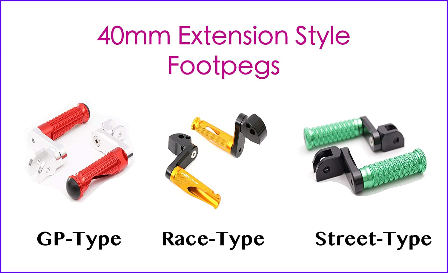 Front - STREET-Type with 40mm-Extension Autobahn88 Motorcycle Footpeg for Suzuki GSF 1250 S SA Bandit Black 2007-2018