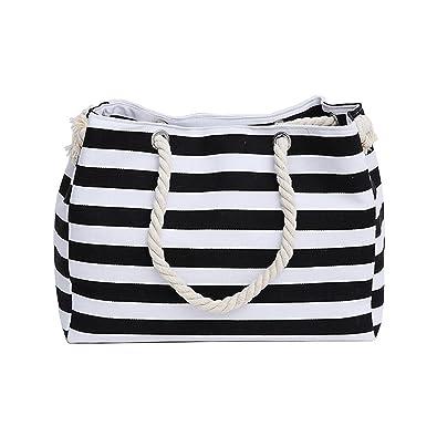 a0eff27a53 Shoulder handbags shopping bag beach handbag fashion canvas bag wild rough  twine striped beach bag