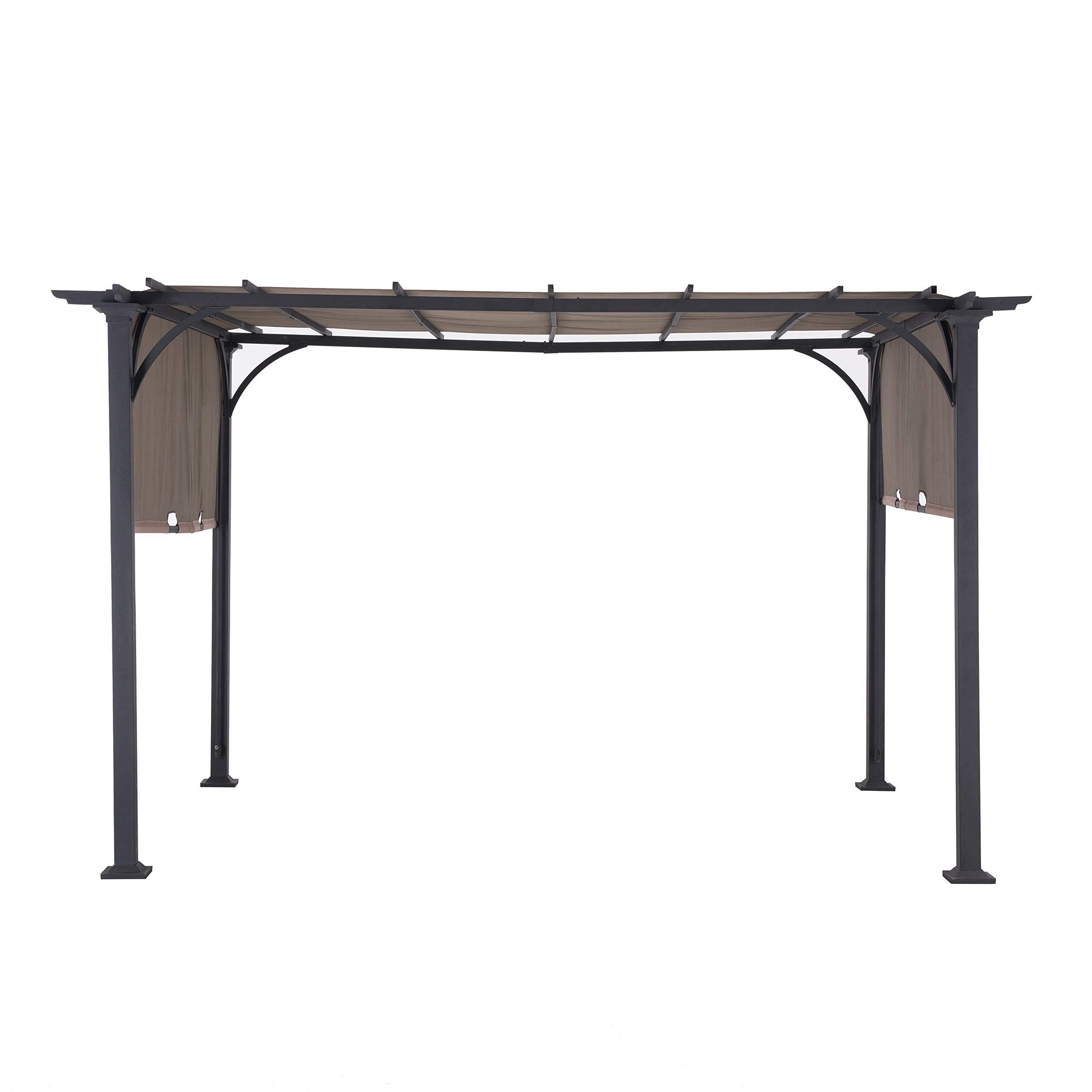 Sunjoy 110105002 Doubleton Pergola with Canopy, 8' x 10', Steel Patio Shade Gazebo 8 x 10 FT, Brown