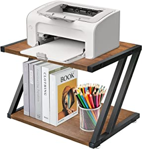 Desktop Printer Stand with Storage Shelf, Rustic 2 Tier PrinterTable, Heavy Duty Home Printer Stand for Home and Office, Multi-Purpose Under Desk Stand Organizer with Adjustable Anti-Skid Feet