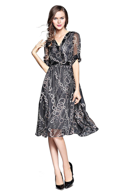 Joy EnvyLand Womens Chiffon V-neck Summer Cocktail Prom Party Beach Midi Dress at Amazon Womens Clothing store: