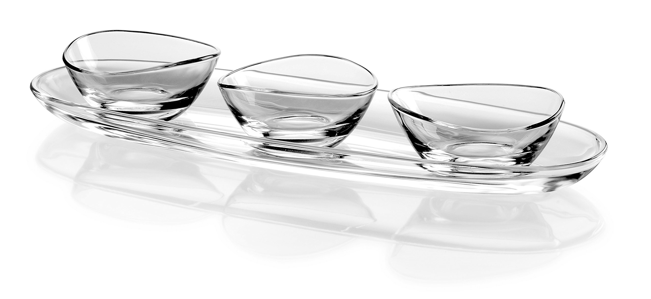 Barski European Glass - Oval - Serving Tray - Platter - 19.5'' Long - with Three Small Bowls - 5 '' Diameter - Could Be Used for Snack Server Or For Dips - 4 Piece Set - Made in Europe