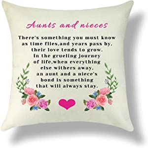 Aunt Pillowcase Aunt Gifts from Nieces Throw Pillow Cover Cushion Cover Cotton Linen Home Decor Pillow Cover Nieces Gift from Aunt Thanksgiving Birthday Christmas Graduation Gifts for Her 18x18 Inch