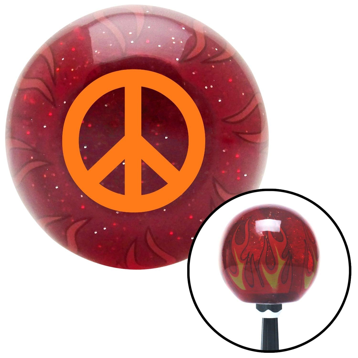 Orange Peace Sign American Shifter 239824 Red Flame Metal Flake Shift Knob with M16 x 1.5 Insert