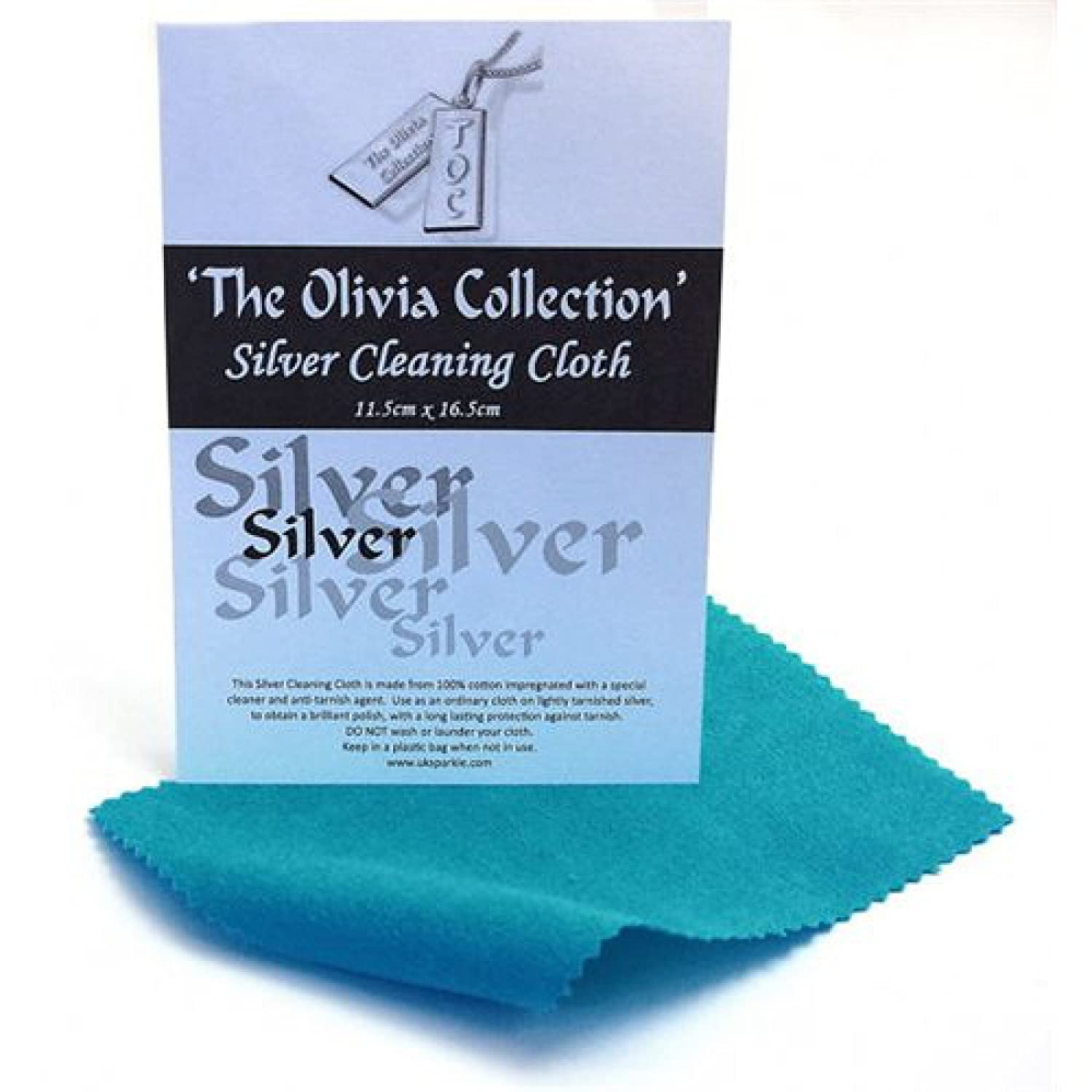 TOC Silver Jewellery Anti Tarnish Polishing Cloth X 1, Standard 115mm x 165mm The Olivia Collection SC191-nwl