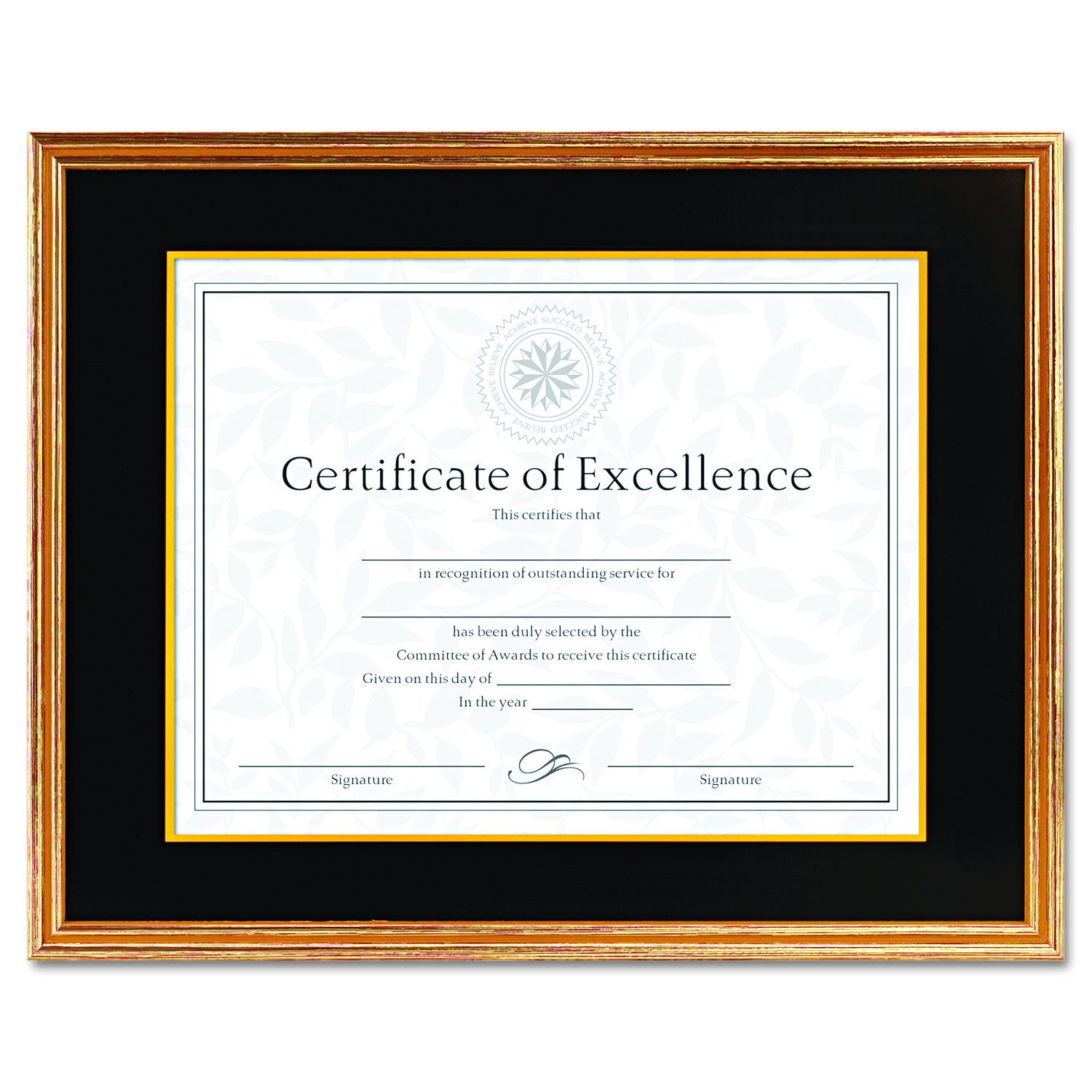 DAX Hardwood Document/Certificate Frame with Mat, 11 x 14 Inches, Antiqued Gold Leaf (1511T)