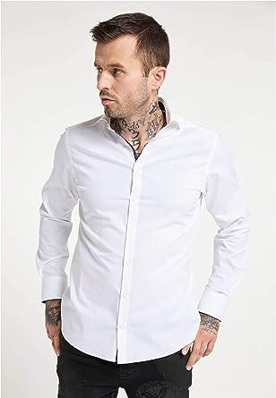 Carlo Colucci Business - Camisa elástica con cuello de clip, color blanco Blanco XXL: Amazon.es: Ropa y accesorios