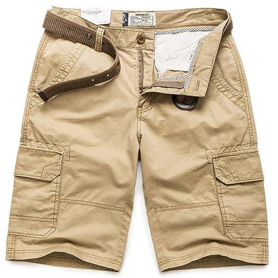 ROBO Homme Cargo Shorts Bermuda Vintage Pantacourt Loose Multipoche Outdoor  Casual sans Ceinture 6339bd02fc2