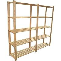 170 x 170 x 37 cm groot houten rek met 5 lattenbodems, ordnerrek, opbergplank, hout, onbehandeld archief, ideaal voor…