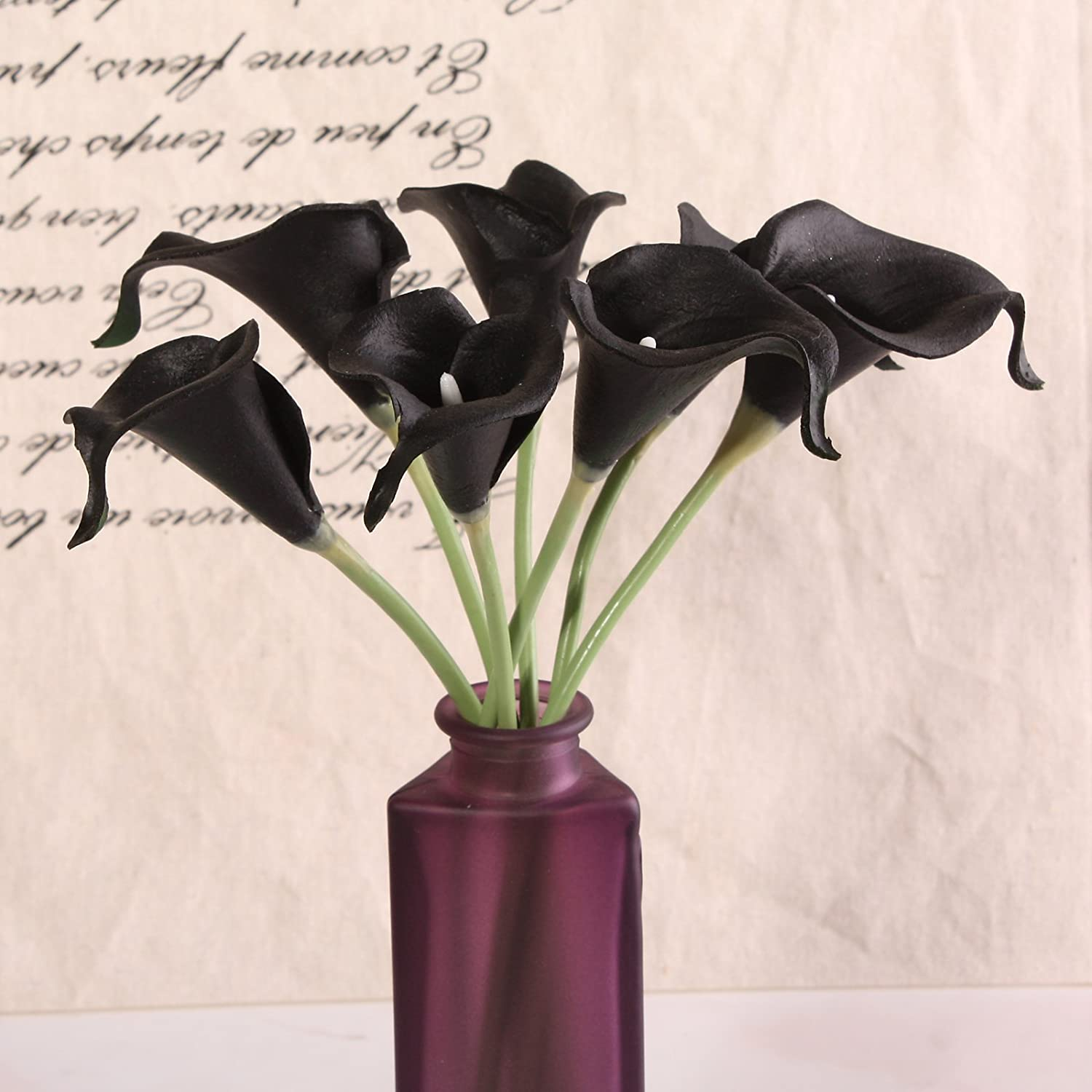 Amazon 10pcs calla lily bridal wedding bouquet head latex real amazon 10pcs calla lily bridal wedding bouquet head latex real touch flower bouquets kc58 black home kitchen izmirmasajfo