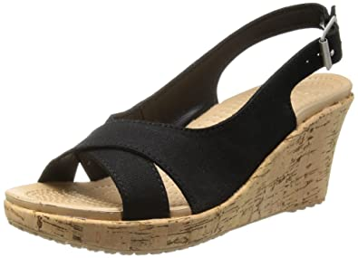 5fed46e35409 Crocs Womens Women s A-Leigh Linen Cork Wrap Wedge Sandal