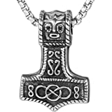 DonDon Collier homme avec pendentif en forme de marteau de Thor en acier  inoxydable avec differents b83dcc842669