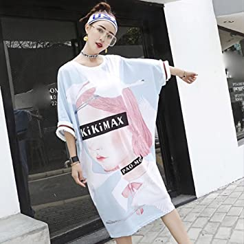 d1101f070cf2 MX European station summer new dress sports wind BF loose thin printing tide  in the long section T-shirt female,Light blue,Average code XM:  Amazon.co.uk: ...