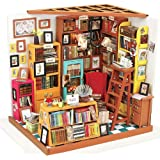 ROBOTIME Dollhouse Miniature DIY Craft Kits Best Birthday Gifts for Teens Sam's Study Room