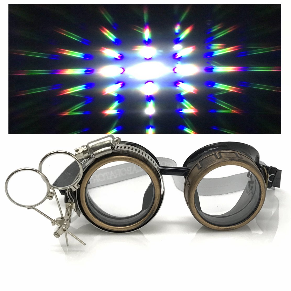 UMBRELLALABORATORY Steampunk Victorian Style Goggles with Compass Design, Colored Lenses & Ocular Loupe gcg clear 1x prism