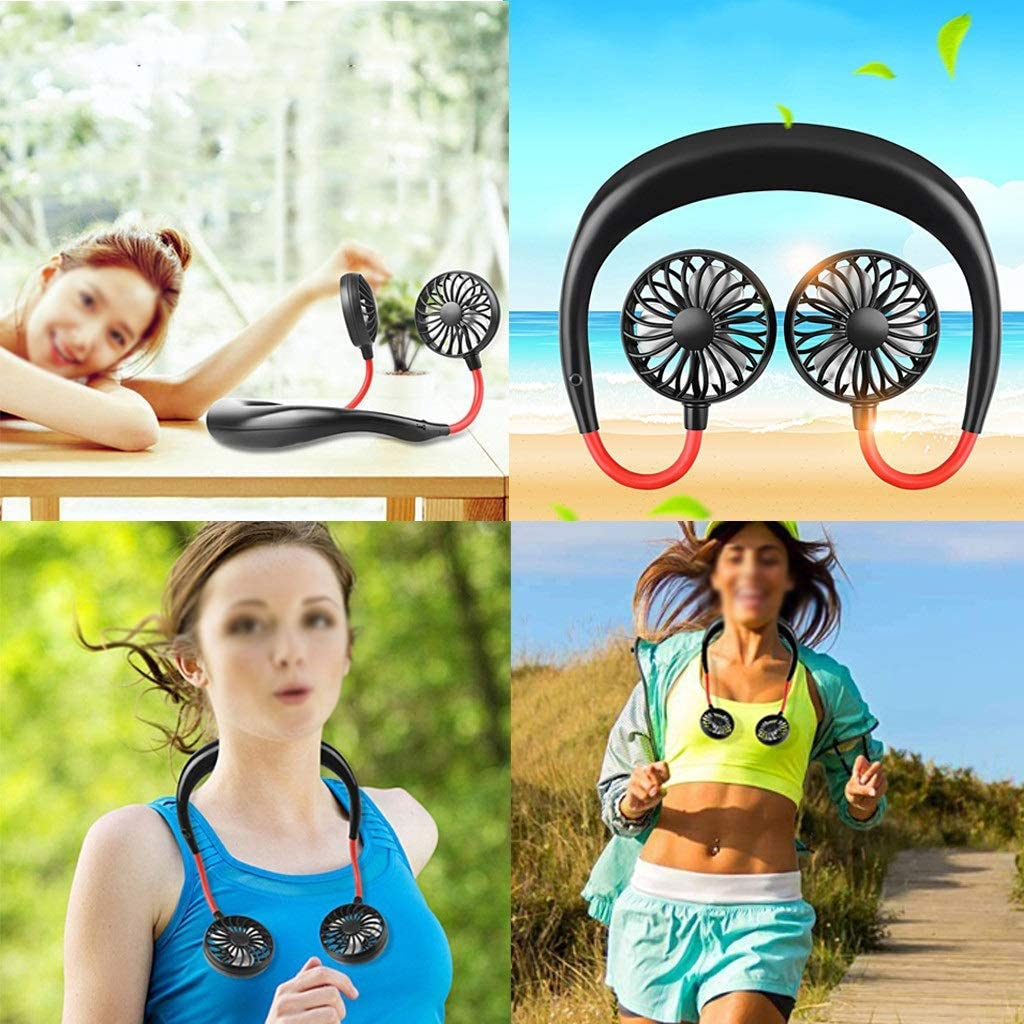 Color : Black NUOCHEN Portable Hanging Neck Sports Fan Hand Free Small Personal Mini USB Fan Mini Wearable Fan 360 Degree Adjustment Head for Travel Reading Sports Outdoor Office Camping