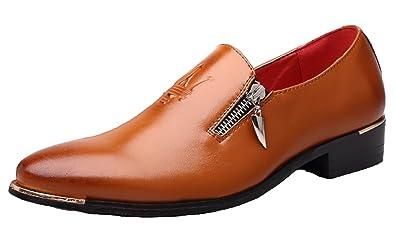 69a13c53579 Santimon Dress Shoes Mens Casual Zipper Stylist Slip on Formal Wedding  Party Oxford Brown 5 D
