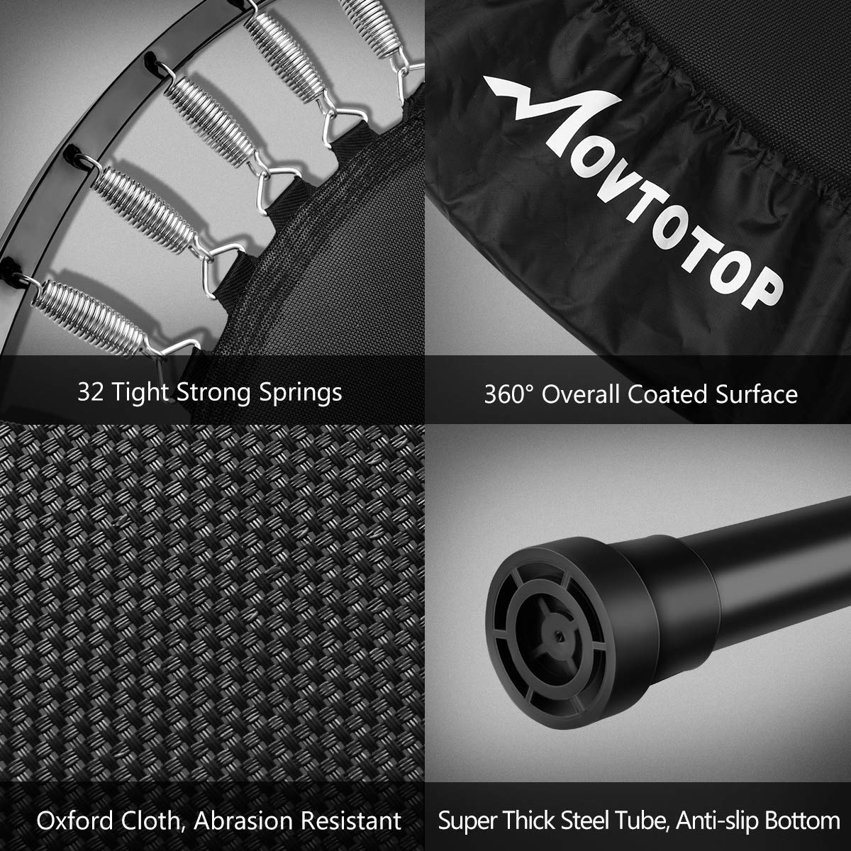 MOVTOTOP 48 40 Inch Indoor Trampoline, Folding Mini Trampoline with Adjustable Handrail and Safety Pad, Exercise Rebounder for Kids Adults-Black (40 Inch-Foldable) by MOVTOTOP (Image #3)