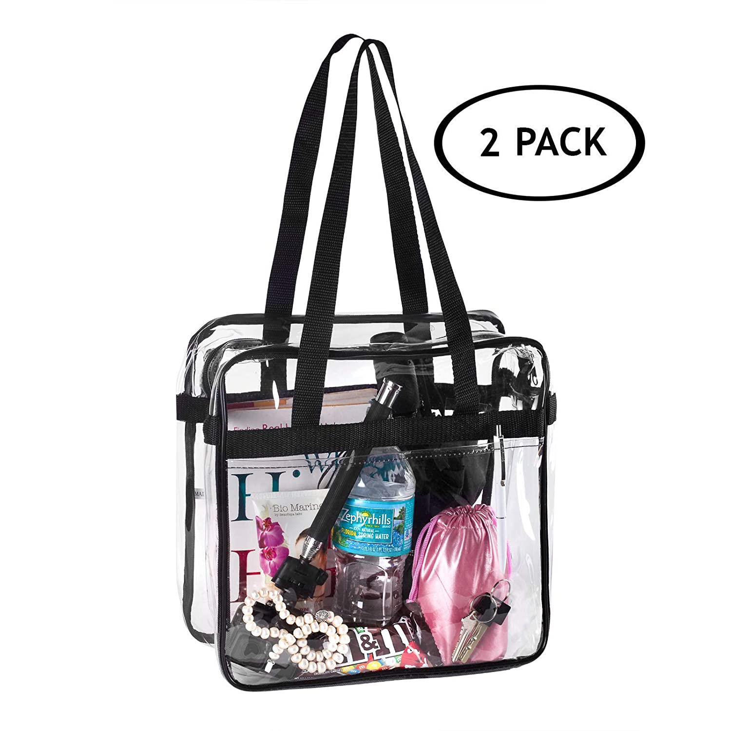 2 Clear NFL and PGA Stadium Approved Tote Bag, by Bags for Less - for, Security Travel, Sports, Outdoor Activities –12 X 12 X 6 Clear vinyl body with Trim Budget Bags