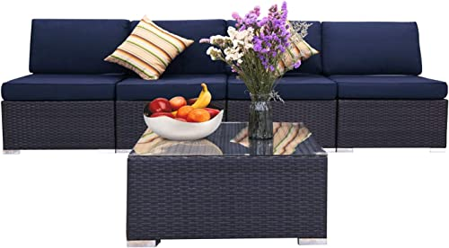 EXCITED WORK 5 Pcs Patio PE Rattan Wicker Sofa Set Outdoor Sectional Furniture Set