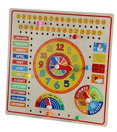 Calendario Legno Bambini.Calendario In Inglese Con Orologio Per Bambini In Legno