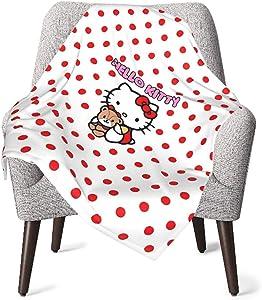 559 Soft Warm Cozy Unisex Baby Toddler Red Hello Kitty Blanket , Infant Blanket for Crib, Stroller, Travel, Decorative