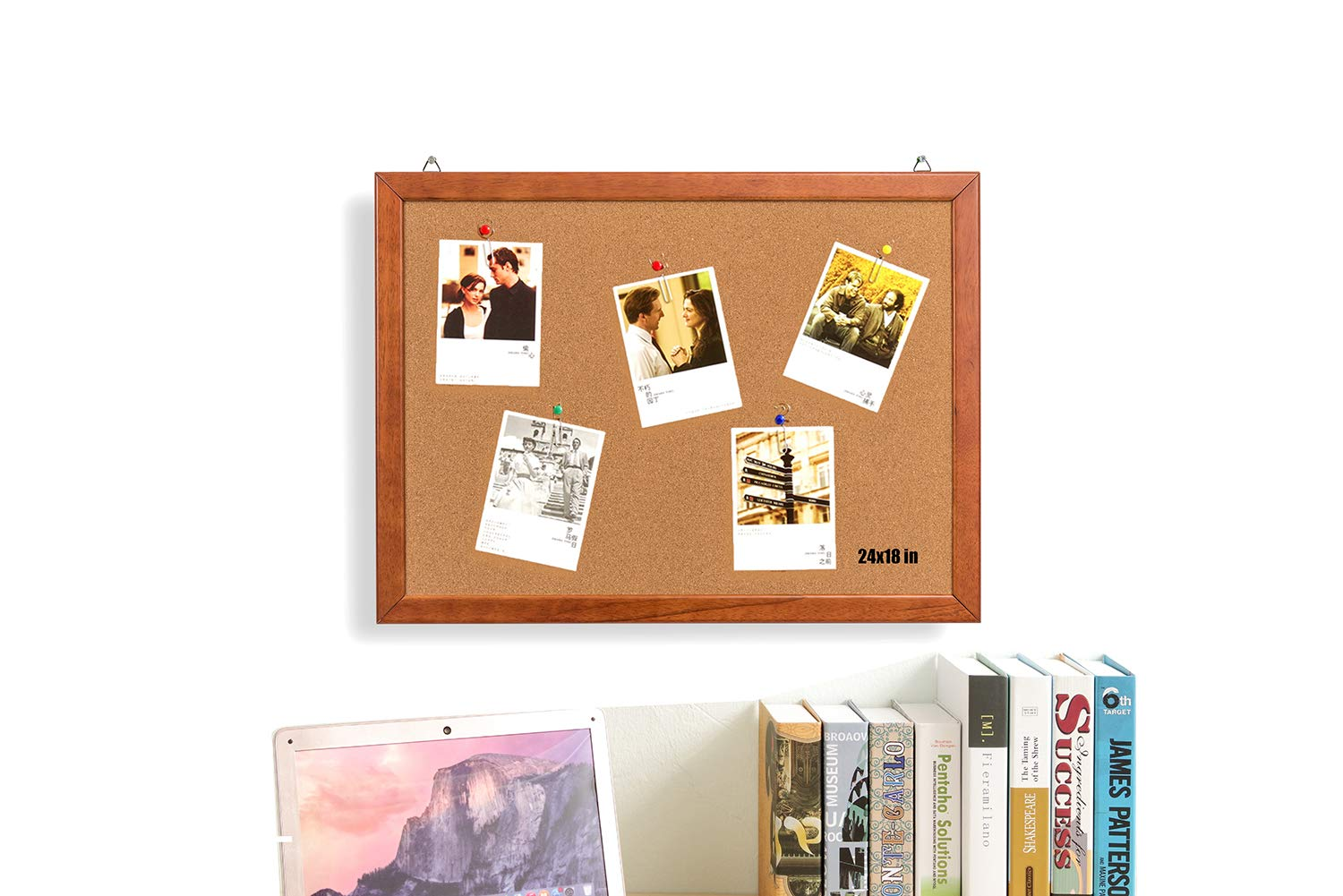 Wood Frame Cork Board Bulletin Board 24 x 18, Mounting Hardware, Push Pins Included Gideal GI_CC1