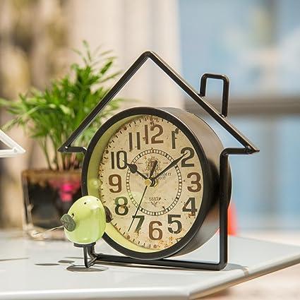 SE7VEN Reloj creativo Hierro] Estilo americano Rústico Ligero Reloj de mesa Salas de estar Dormitorios