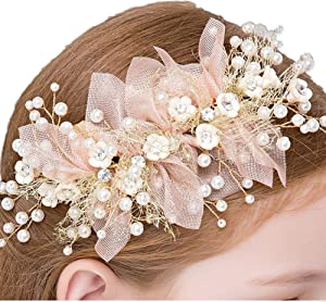 Bocianelli Girls Flower Wreath Headpieces Headband Handmade Adjustable Halo Floral Crown Hair Flower Vine Princess Birthday Accessory