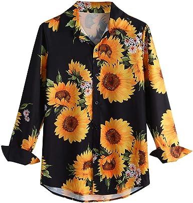 Camisa Hombre Estampada Manga Larga, Camisa Hombre Flores, Camisa Hombre Fiesta, Camisa Estampada De Flores De Manga Larga Informal para Hombres Blusa Delgada Ajustada: Amazon.es: Ropa y accesorios