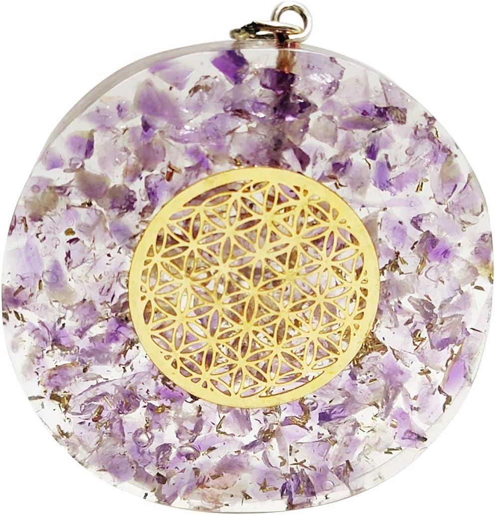 Crocon Amatista forma redonda orgona colgante con símbolo de flor de la vida para Crystal curación Reiki Love Prosperity Success Abundance EMF Protección